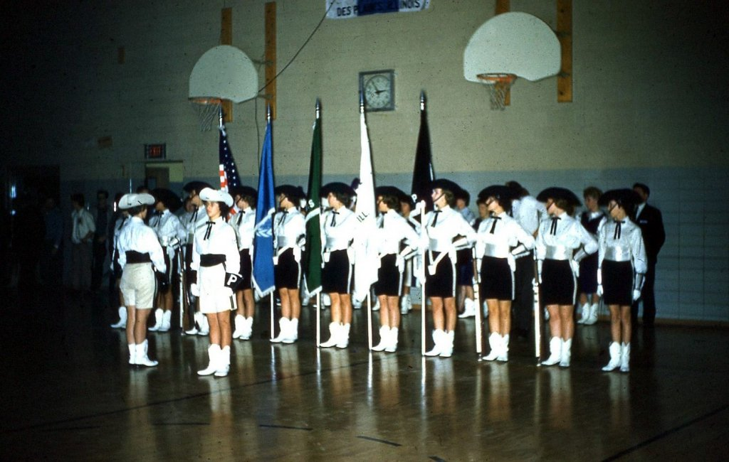 Phantomettes Winter Guard at a competition, date unknown