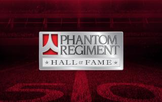 Phantom Regiment hall of fame logo on football field