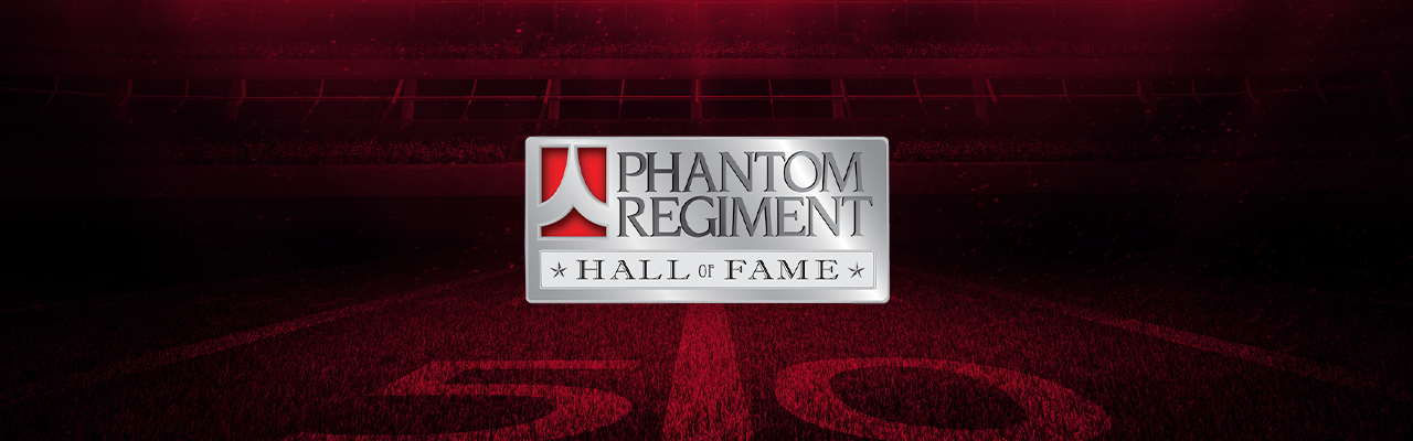 Phantom Regiment hall of fame logo on football field