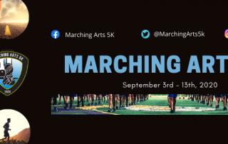 Marching Arts 5k header with running feet
