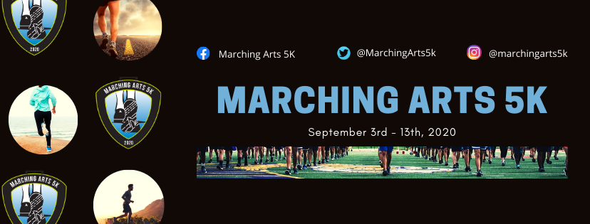 Marching Arts 5k header with running feet