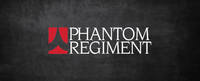 Phantom Regiment logo overlayed on black chalkboard background